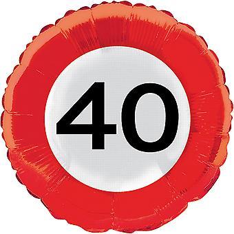 Folie ballong trafikk tegn nummer 40 bursdag helium ballong