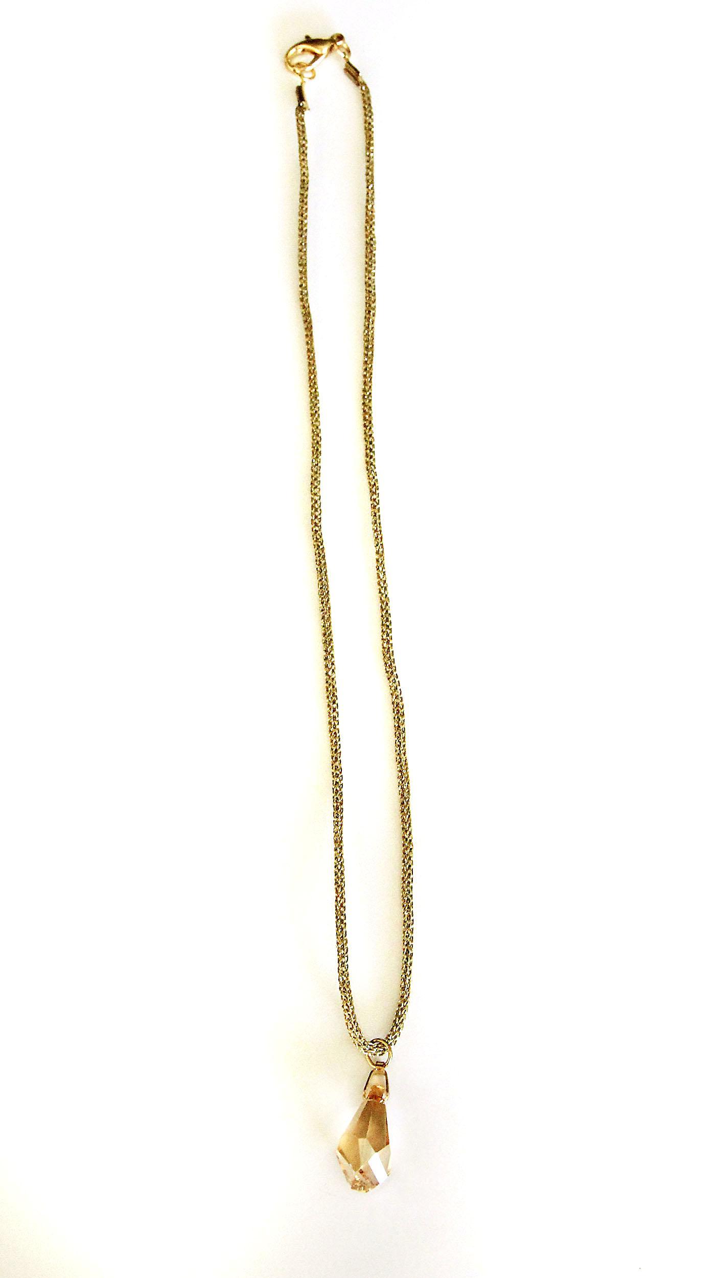 Waooh - Bijoux - Swarovski / Pendentif goutte ambré et cordelette - Or