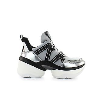 MICHAEL KORS OLYMPIA TRAINER SILVER BLACK SNEAKERS