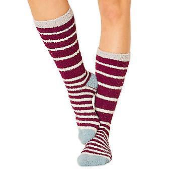 Bangora women's fluffy socks in purple. Recycled polyester, made by Braintree