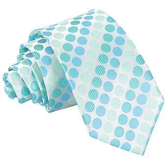 Aqua blå Pastel Polka Dot slanke slips