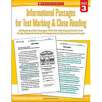 Informational Passages for Text Marking & Close Reading: Grade 3: 20 Reproducible Passages with Text-Marking Activities...