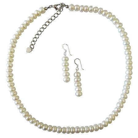Natural Freshwater Pearl Ivory Color Necklace Set Exclusive Wedding Jewelry