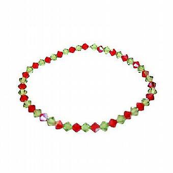 Bracelet extensible de péridot & AB Siam Swarovski rouge