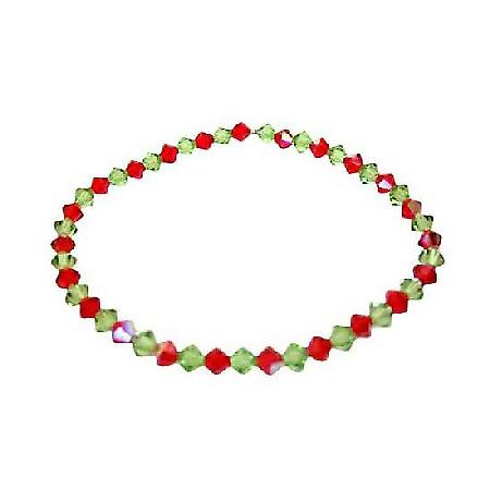Peridot & AB Siam Red Swarovski Stretchable Bracelet