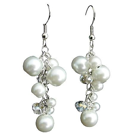 White Pearl Clear Crystal Glass Beads Dangling Cute Cluster Earrings