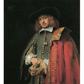 Portrait of Jan Six,Rembrandt,50x45cm