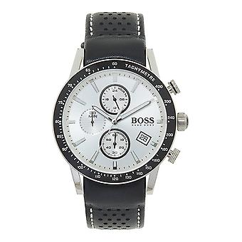 Hugo Boss 1513403 Rafale Silver And Black Leather Chronograph Men's Watch