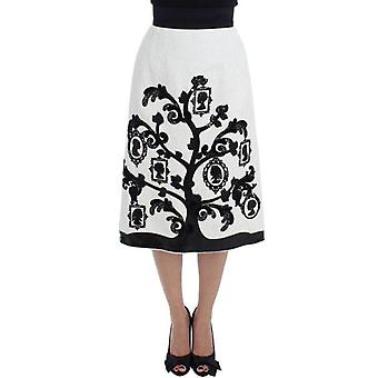 Dolce & Gabbana White Floral Brocade Family Tree Skirt -- SIG1825605