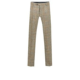 Harris Tweed Mens Brown Suit Trousers Regular Fit 100% Wool Windowpane Check