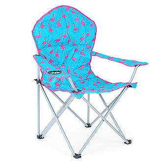 Folding Camping Chair Lightweight Padded Beach Festival Seat Flamingo Print