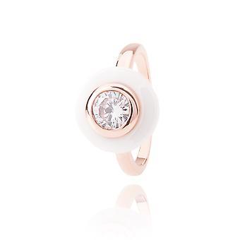 Ah! Smycken keramiska vitt och Rose fyllda Guld Ring med Cubic zirkonium