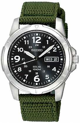 Seiko Mens Solar Powered toile sangle SNE095P2 Watch