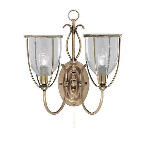 Searchlight 6352-2AB Silhouette 2 Light Antique Brass Wall Bracket Clear Seeded