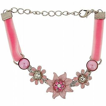 The Olivia Collection Girls - Ladies Pink Velvet Feel Flowers Bracelet FJ205