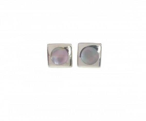 Cavendish French Square Silver and Mother of Pearl Earrings