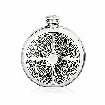 6oz Round Celtic Flask Pewter - Cel176
