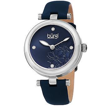Burgi Women's Diamond Accented Flower Dial Watch - Comfortable Leather Strap BUR197BU