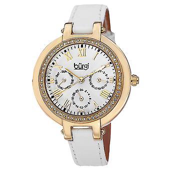Burgi BUR085YGW Quartz Crystal Bezel Multifunction Leather Strap Watch