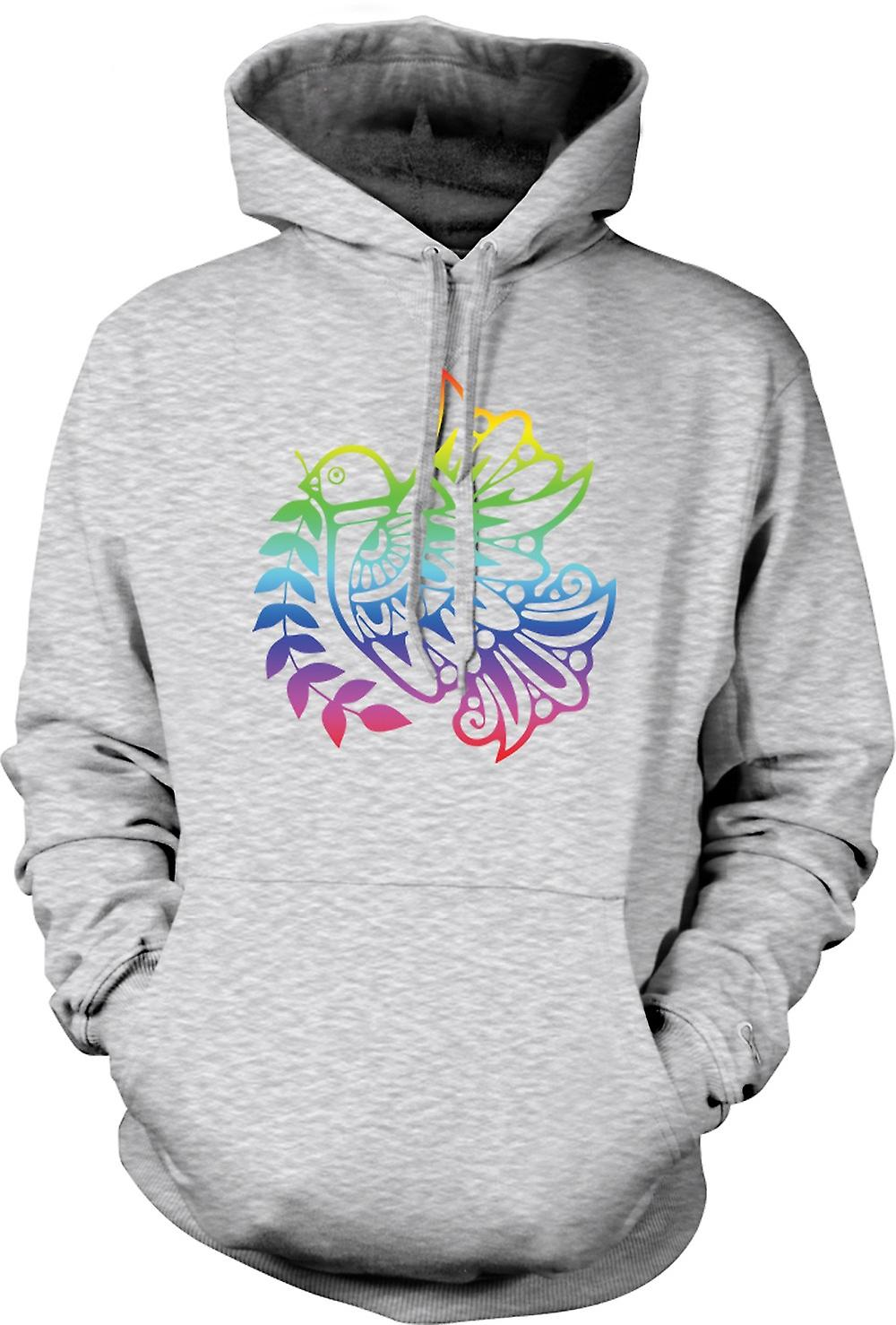 Mens Hoodie - Peace Dove Rainbow - Cool