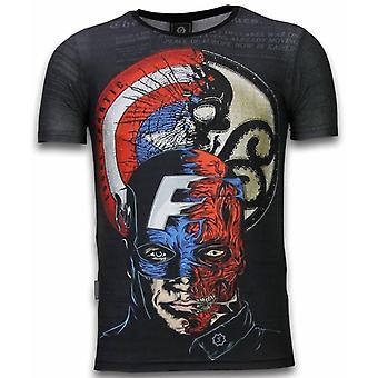 Captain-Digital Rhinestone T-shirt-Black