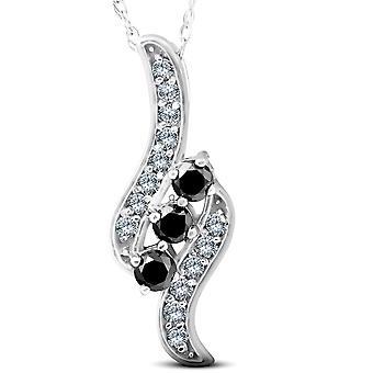 1 / 3ct 3 - stenen Black Diamond Pendant 14 KT witgoud