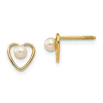 14k Yellow Gold Polished Screw back Post Earrings 3mm Freshwater Cultured Pearl Heart Earrings