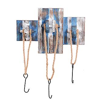 Rustic Blue & White Wooden Nautical Triple Rope Coat Hook