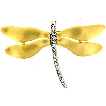 Kenneth Jay Lane grote satijn goud & Crystal Dragonfly broche speld