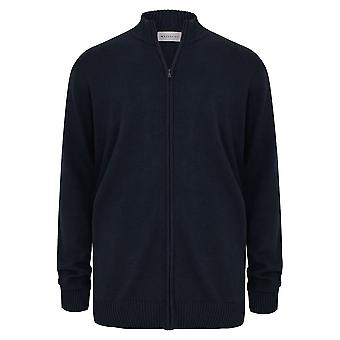 BadRhino Navy Funnel Neck Zip Through Knitted Jacket - TALL