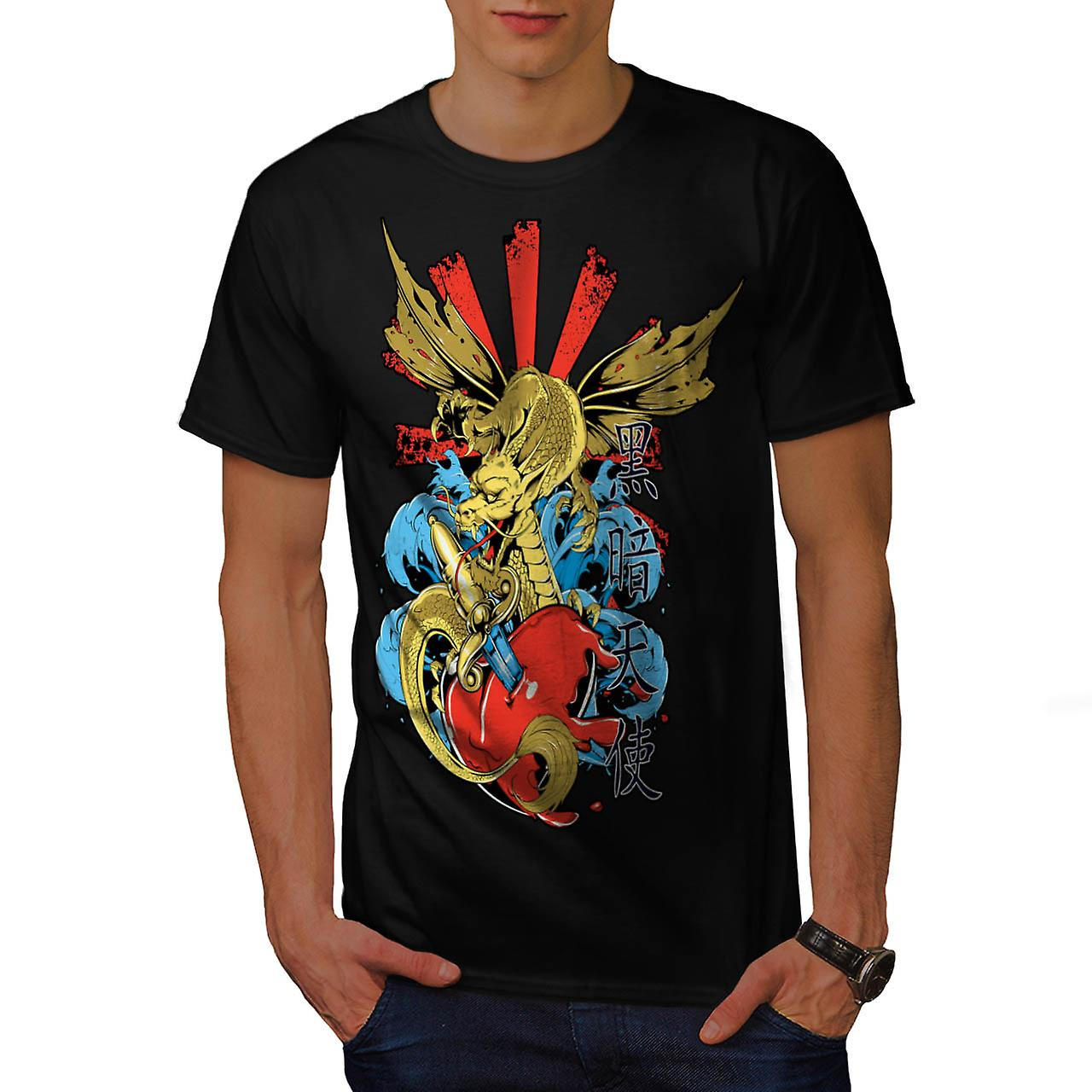 Japanese Skull Fantasy Men Black T-shirt | Wellcoda