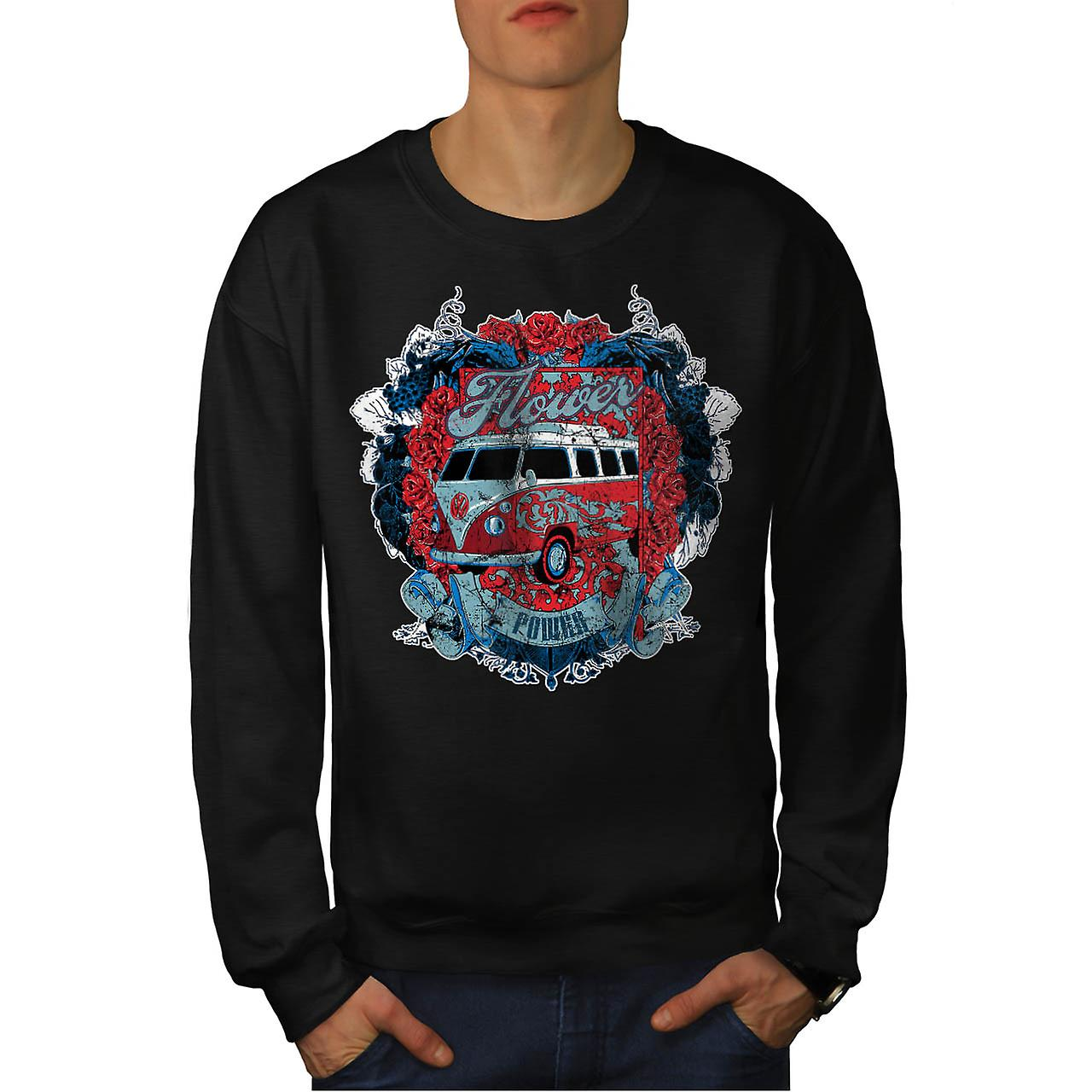 Flower Power Hippy Camper Van Men Black Sweatshirt | Wellcoda
