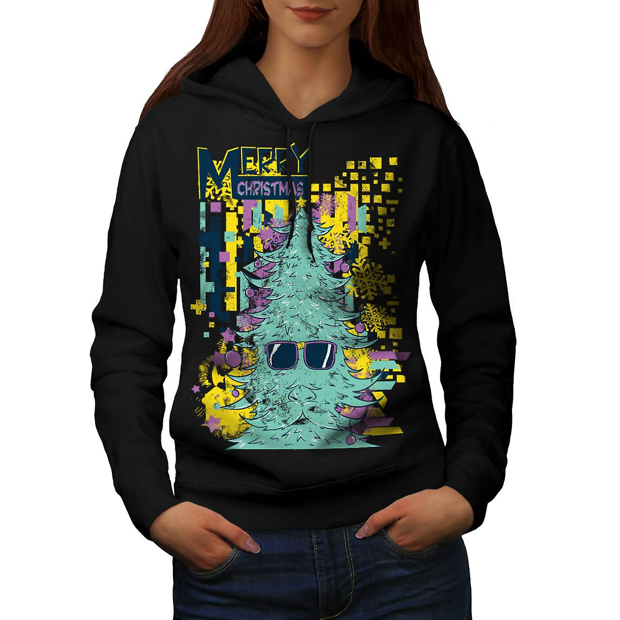 Merry Christmas Swag Xmas Tree Women Black Hoodie | Wellcoda