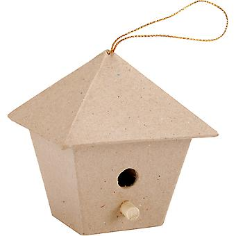 Paper-Mache Square Birdhouse Ornament-3