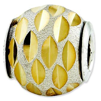 Sterling Silver Reflections Velvet Gold-plated Diamond-cut Bead Charm