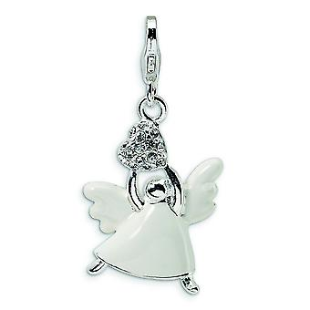 Sterling Silver Enameled Swarovski Element Crystal Angel With Lobster Clasp Charm - Measures 33x16mm