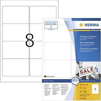 Herma 10308 Labels (A4) 96 x 63.5 mm Paper White 800 pc(s) Removable All-purpose labels Inkjet, Laser, Copier