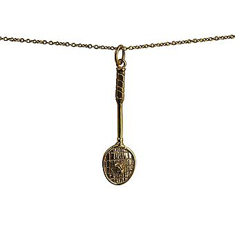 9ct Gold 36x11mm Badminton Racket and Shuttlecock Pendant with a cable Chain 20 inches