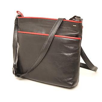 Berba Soft cross-over zipper bag 005-440 black/red