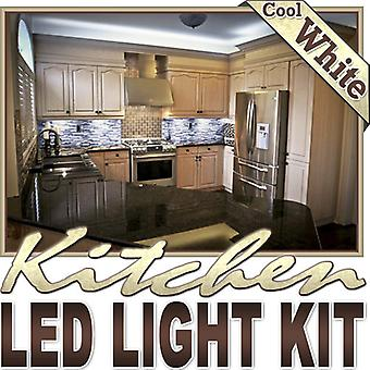 Biltek 6' ft Cool White Kitchen Counter Cabinet LED Lighting Strip + Dimmer + Remote + Wall Plug 110V - Under Counters Microwave Glass Cabinets Floor Waterproof Flexible DIY 110V-220V