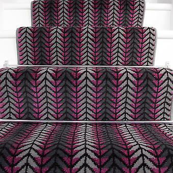 90cm bredde - moderne lilla Chevron trappe tæppe