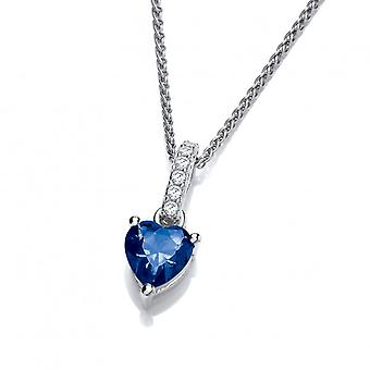 Cavendish French Sparkly Little Sapphire Cubic Zirconia Drop Heart Pendant