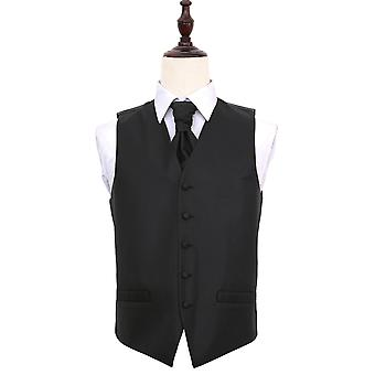 Black Greek Key Patterned Wedding Waistcoat & Cravat Set