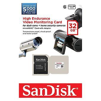 SanDisk MicroSDHC alta resistencia Monitering Video tarjeta de 32GB con adaptador. SDSDQQ-032G-G46A