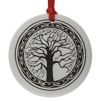 Handgemachte keltische heilige Baum des Lebens rund geformte Porzellan Christbaumkugel / Andenken