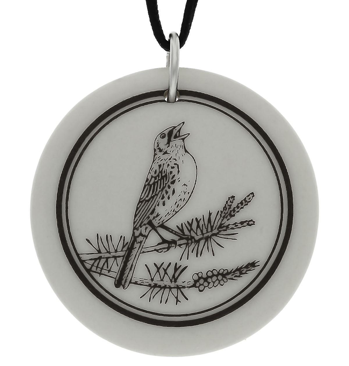 Handmade Kirtland's Warbler Totem Round Shaped Porcelain Pendant