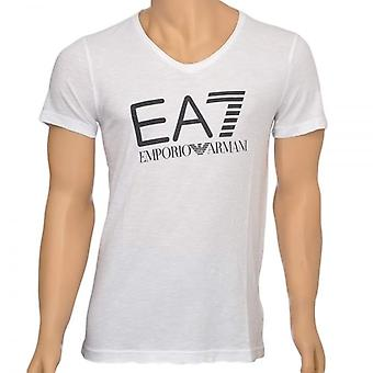 EA7 Emporio Armani Sea World Core Logo V-Neck T-Shirt, White, Large