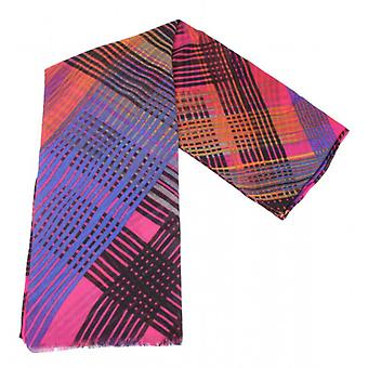 Fraas Bright Check Wrap Scarf - Pink/Blue/Orange