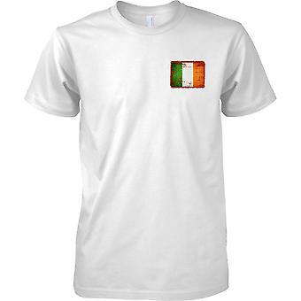 Irish Grunge Effect Flag - Mens Chest Design T-Shirt