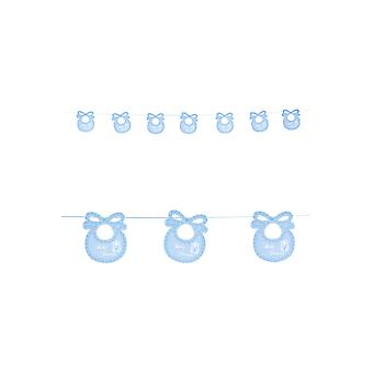 Party favors  baby shower garland with blue bibs 2.75m